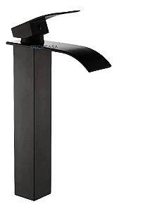 Torneira Misturador Monocomando Alta Banheiro Preto Fosco