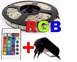 Fita Led 5050 Rgb 5m Super Led + Contradora + Cont Remoto + Fonte