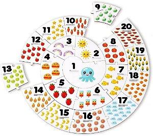 Quebra Cabeça Conte até 20 com 20 peças em MDF