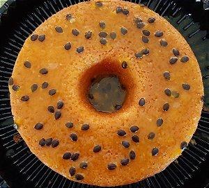 Bolo de Maracujá Sem Açúcar - 14 cm de diâmetro - Farinha amêndoa, fermento, óleo de soja ou girassol, ovos, xilitol e suco de maracujá.