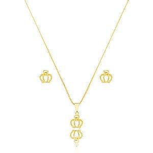 Conjunto Dourado Coroa Petit