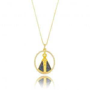 Colar Dourado Nossa Senhora Zircônias Safira