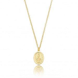 Colar Dourado Medalha Nossa Senhora