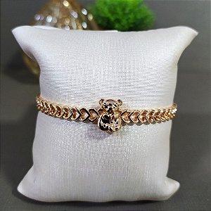 Bracelete Dourado Corações Vazado Ursinho