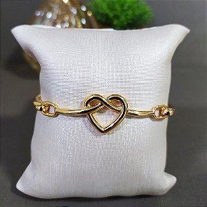 Bracelete Dourado Elos Coração