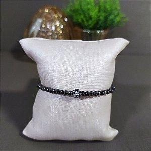 Bracelete Ródio Negro Bolinhas com Zircônias
