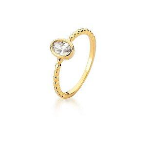 Anel Dourado  Pedra Cristal Oval