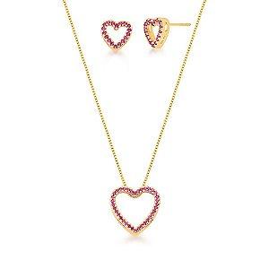 Conjunto Dourado Coração Vazado Zircônias Rosa