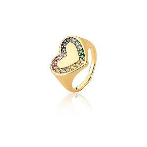 Anel Dourado Coração Zircônias Multicolor
