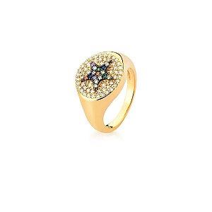 Anel Dourado Estrela Zircônias Multicolor