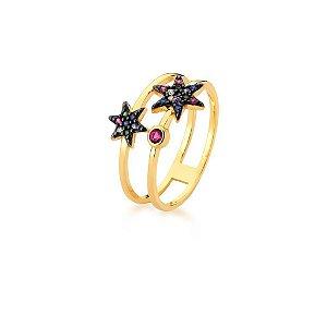 Anel Dourado Duas Voltas Estrela Zircônias Multicolor