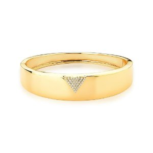 Pulseira Bracelete Dourada Triângulo com Zircônias