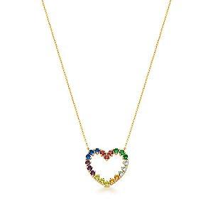 Colar Dourado Coração Vazado com Zircônias Multicolor
