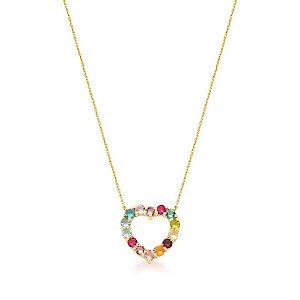 Colar Dourado Coração com Zircônias Multicolor