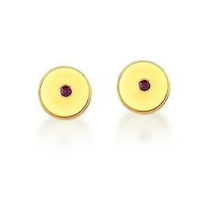 Brinco Dourado Botão Amarelo Resina