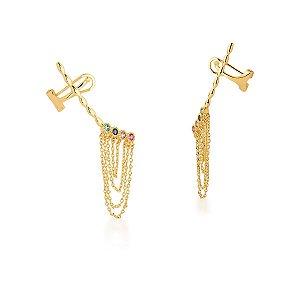 Brinco Dourado Ear Cuff Pendulo com Zircônias Multicolor