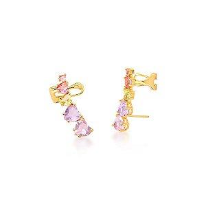 Brinco Dourado Ear Cuff Zircônias Coração Multicolor