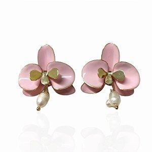 Brinco Dourado Esmaltado Orquídea Rosa