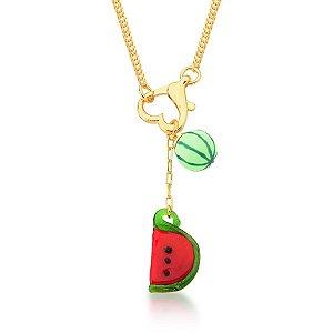 Colar Dourado Elo Grumet Coração com Frutas em Resina