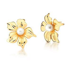 Brinco Dourado Flor com Pérola