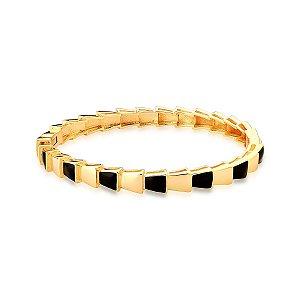 Bracelete Dourado Esmaltado Curvo Preto