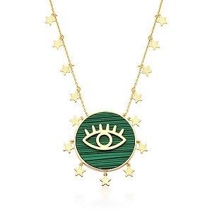 Colar Dourado Malaquita Olho Grego com Estrelas