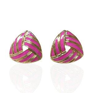 Brinco Dourado Esmaltado Triangular Rosa