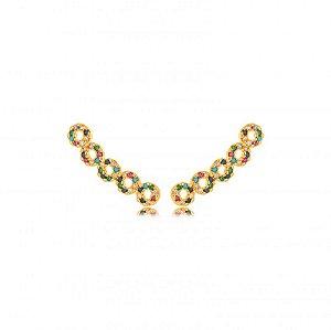 Brinco Dourado Ear Cuff Mini Zircônias Rainbow