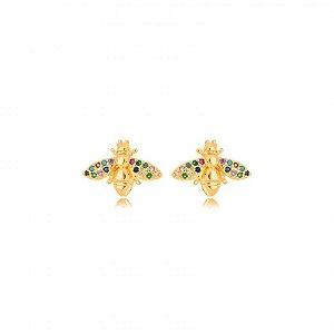 Brinco Dourado Bug Zircônias Rainbow