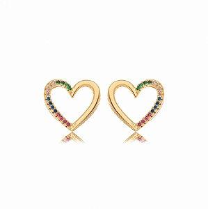 Brinco Dourado Coração Zircônias Rainbow