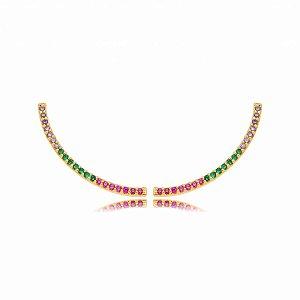Brinco Dourado Ear Cuff Fino Zircônias Rainbow