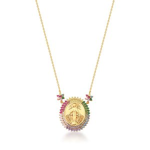 Colar Dourado N. S. Milagrosa com Zircônias Rainbow