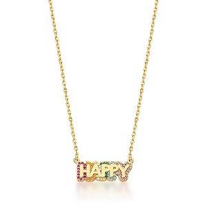 Colar Dourado Happy com Zircônias Rainbow