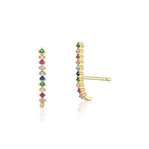 Brinco Ear Hook com Zircônias Rainbow