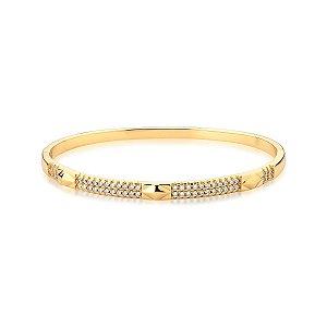 Bracelete Dourado com Duas Fileiras de Zircônias
