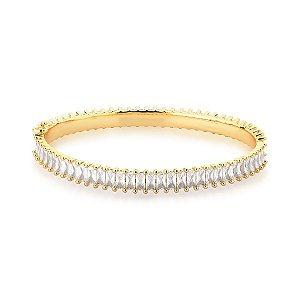 Bracelete Dourado com Zircônias Retangulares