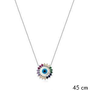 Colar Prata Olho Grego Madreperola com Zirconias Rainbow