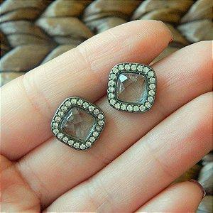 Brinco Ródio Negro em Prata 925 Com Cristal e Zircônias