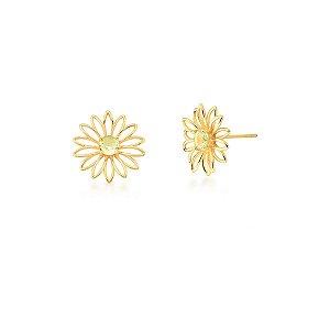 Brinco Dourado Flor Prasiolita