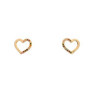 Brinco Dourado Coração Zircônias Coloridas