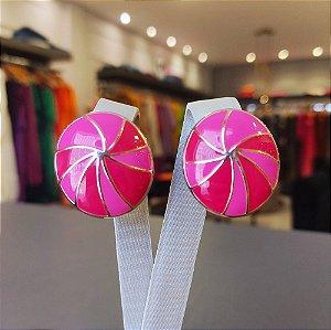 Brinco Dourado Esmaltado Redondo Rosa e Pink