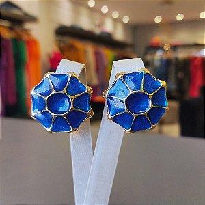 Brinco Dourado Mandala Azul