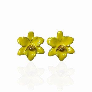 Brinco Dourado Orquídea Esmaltada Amarela