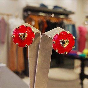 Brinco Dourado Mandala Coração Esmaltada Vermelha