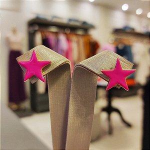 Brinco Dourado Estrela Esmaltado Pink
