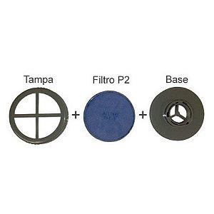 CONJUNTO BASE + TAMPA + FILTRO P2 PARA RESPIRADOR - ALLTEC