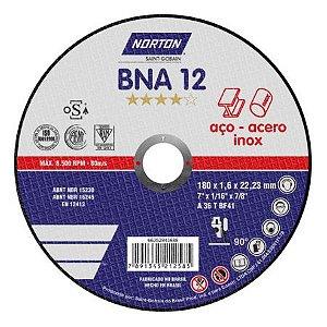 DISCO CORTE INOX BNA 12 T41-180X1 6X22.23 - NORTON