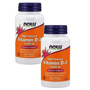 Kit 2 Vitamina D3 1,000UI 180 Caps NOW FOODS