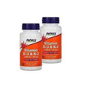Kit C/ 2 Vitamina D-3 e K-2 1000UI/45mcg 120 Caps NOW FOODS