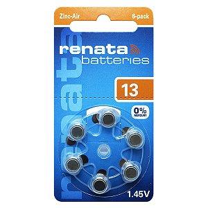 06 Pilha Aparelho Auditivo 13 Bateria Auditiva Za13 Renata